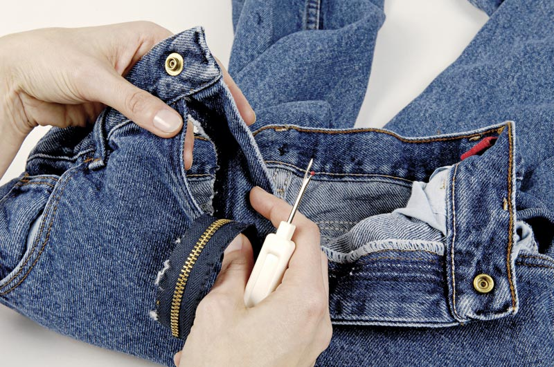 Ремонт молнии на джинсах